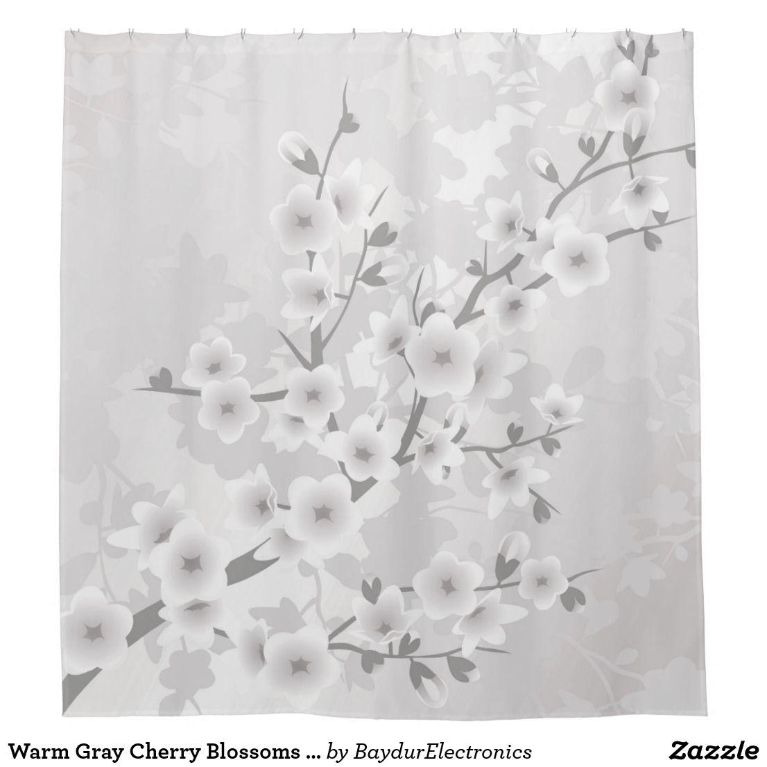 Warm Gray Cherry Blossoms Classic Shower Curtain Zazzle Com Floral Shower Curtains Flower Shower Curtain Classic Showers