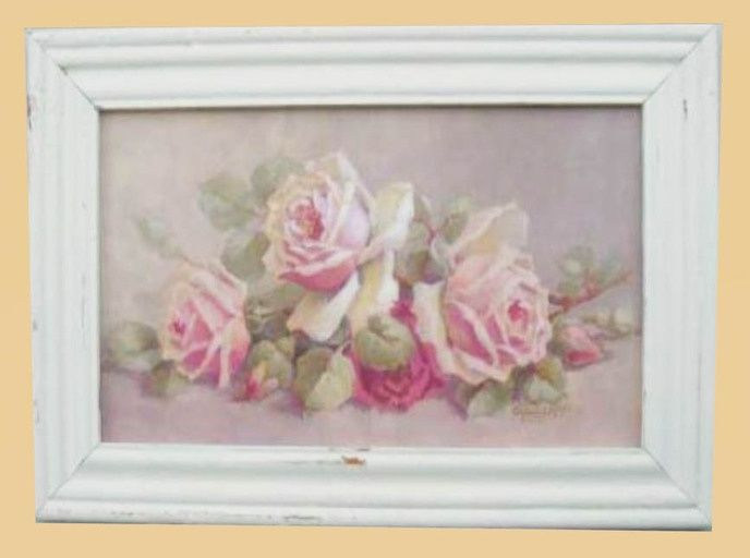 Shabby Chic Rose Paintings Shabby Chic Pink Roses Framed Art Chic Wall Art Rustic Chic Wall Decor Shabby Chic Wall Art