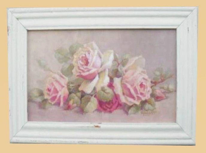 Shabby Chic Rose Paintings Shabby Chic Pink Roses Framed Art