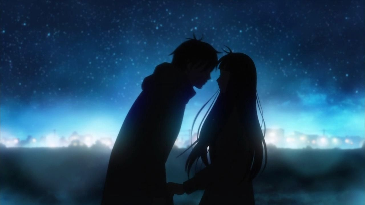 Wallpaper collection Romantic Love couple Kissing : Wallpapers Romantic Kiss Anime Boy couple Girl Kimi Ni Todoke Night 1280x720 Anime kiss ...