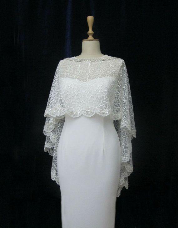 Ivory Lace Bridal Cape Shawl Lace Shrug Wedding Wrap by gebridal, $110.00