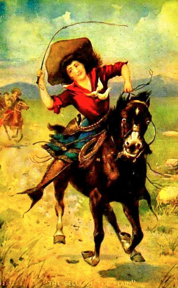 Retro Cowgirl Beim Rücklingsritt