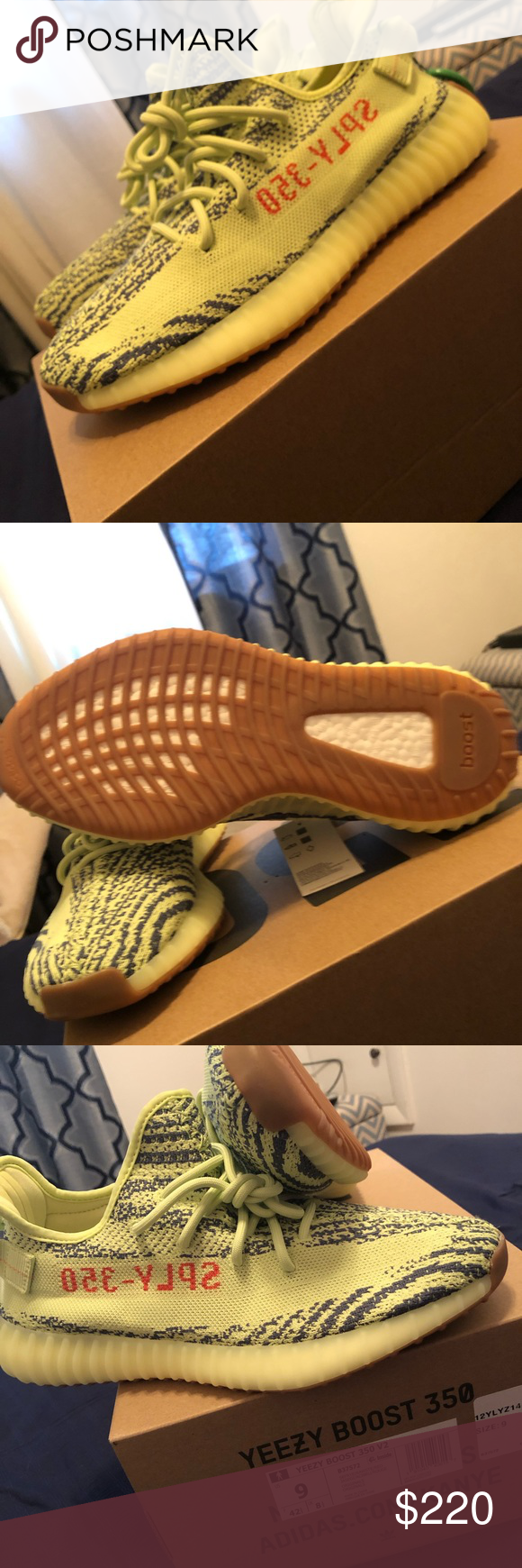 81aba230 Semi-Frozen Yellow Yeezy 350 Boost Never Worn Size 9 Authentic From StockX  Yeezy Shoes