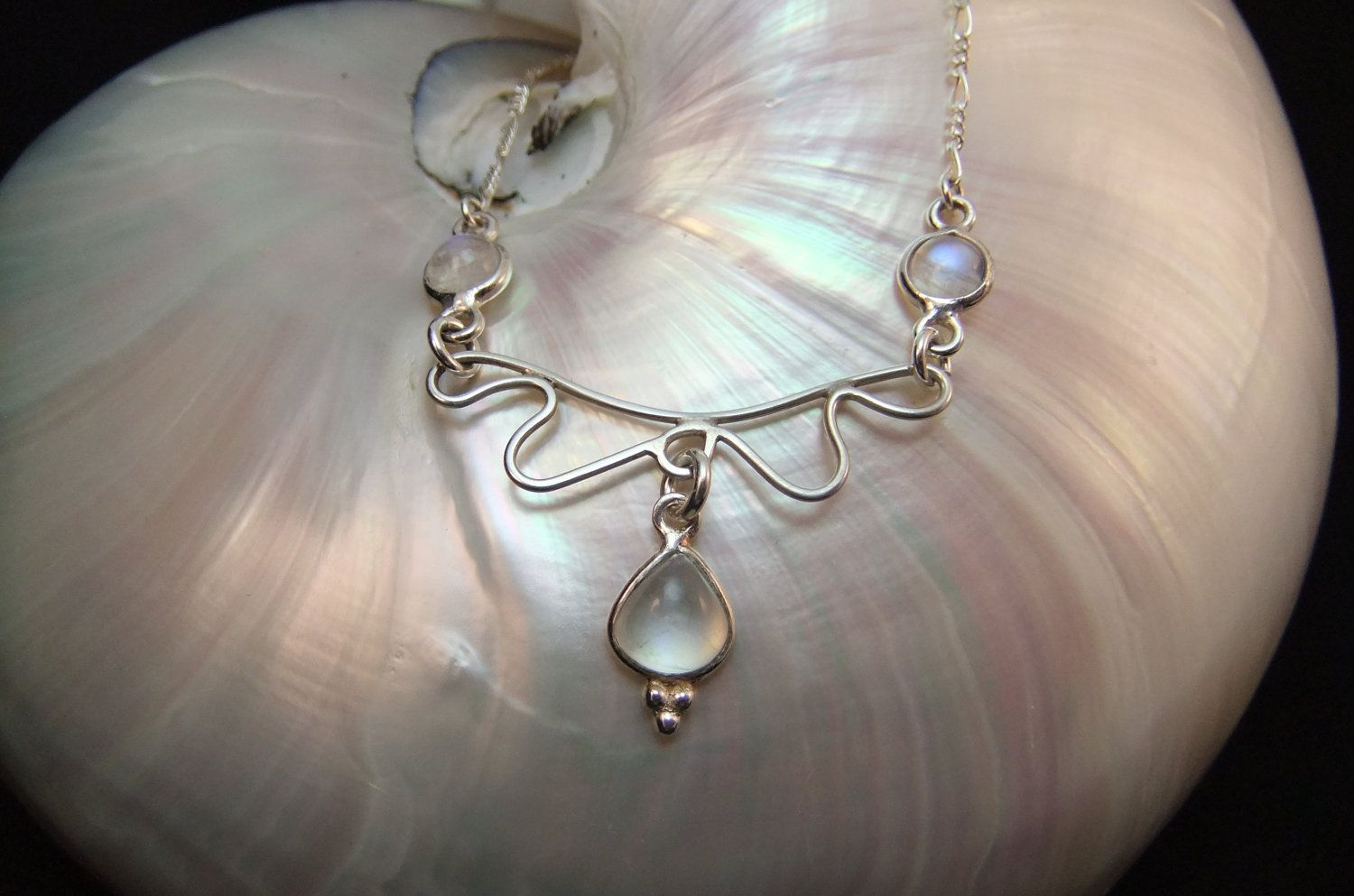 Mystical Moonstone Sterling Silver Machno by WelshHillsJewellery. $39.00, via Etsy.