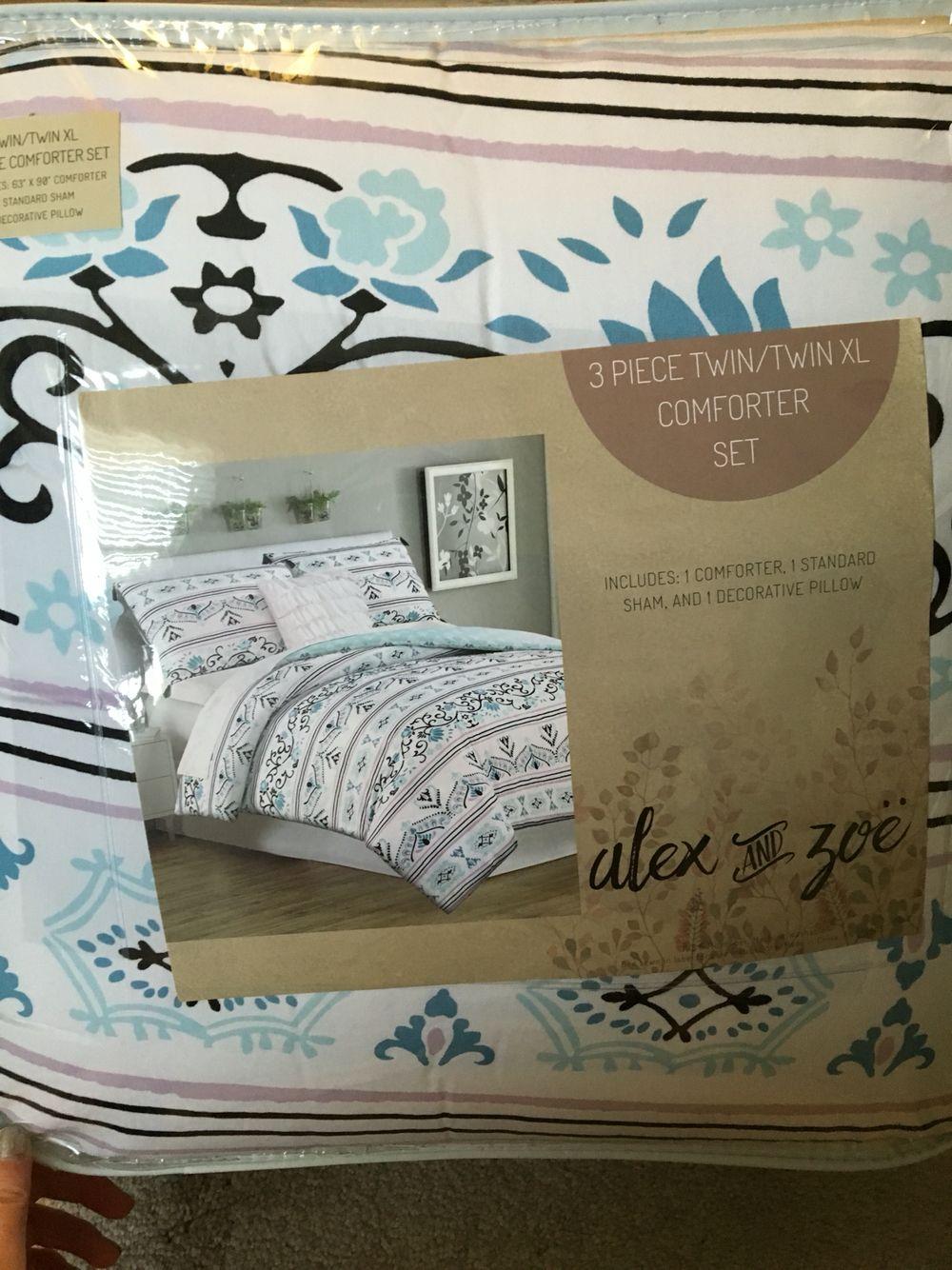 alex and zoe 3 piece comforter set.   stuff i got for my dorm