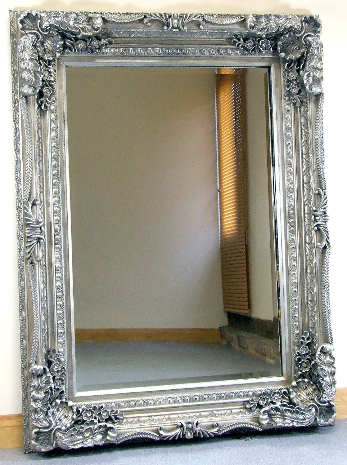 Etonnant Carved Louis Silver Ornate French Frame Wall / Over Mantle Mirror   35in X  47in:
