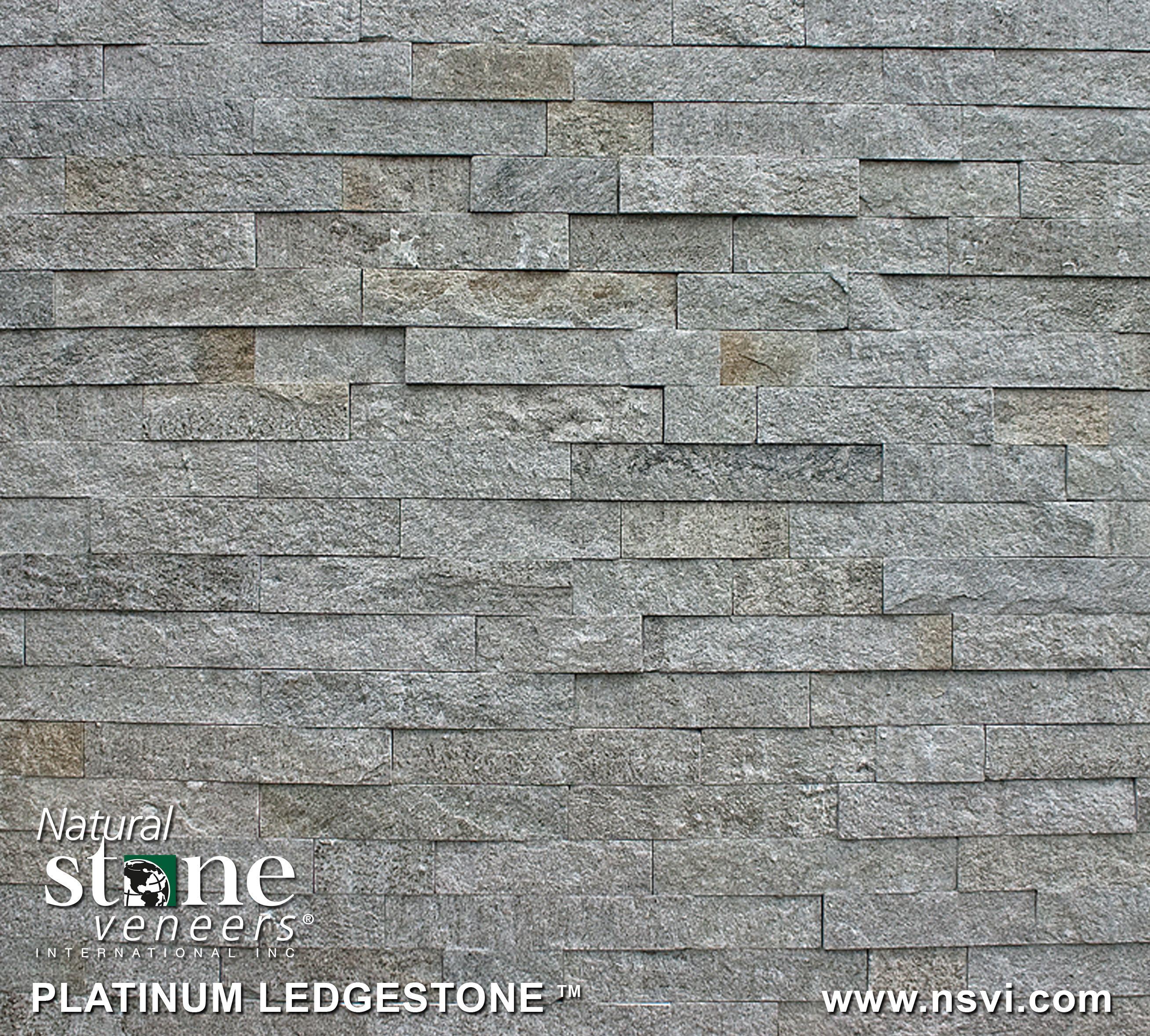 Great Room Fireplace Wall Platinum Ledgestone