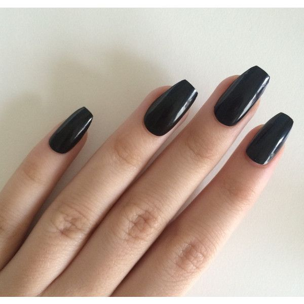 Gloss Black Coffin Nails Hand Painted Acrylic Fake 20 Liked On Polyvore Featuring Beauty Products Nail Care And Treatments