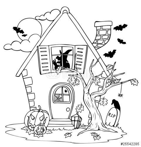 Vector: Halloween, Halloweenhaus, Haus, Hexe, Hexenhaus | Coloriage ...