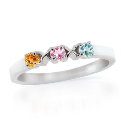 Zales Personalized Birthstone Twist Shank Mothers Ring in 10K Gold (3-7 Stones) sHs20qTEC