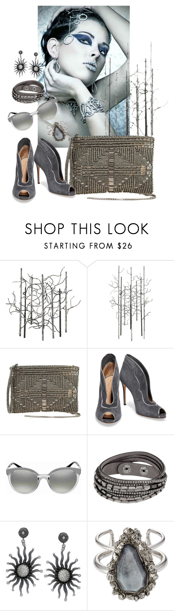 """Grey"" by amanda-savage ❤ liked on Polyvore featuring Varaluz, Gianvito Rossi, Versace and Alexander McQueen"