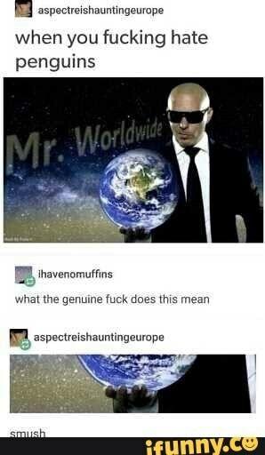 So Pitbull, Mr. Worldwide himself, hates penguins ...