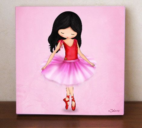 Dancing Ballerina Girls Room Decor Wall Art Canvas Print Reproduction Of Original Painting Children