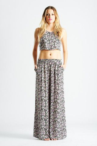 Floral Halter Crop Top | Lucca Couture