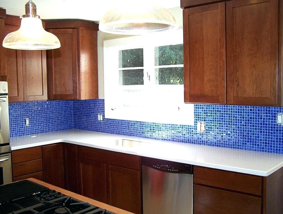 Kitchen Blue Glass Backsplash Glass Tile Blue Tile Backsplash
