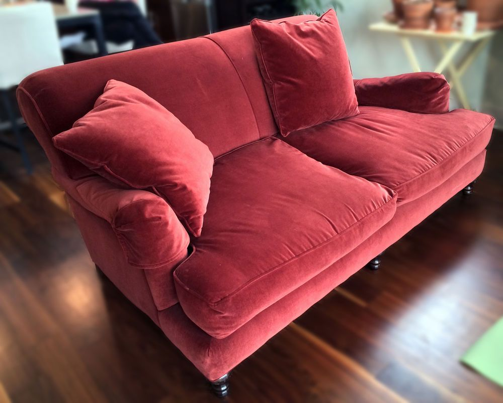 Restoration Hardware English Roll Type Sofa Red Velvet Down  # Restoration Hardware Muebles