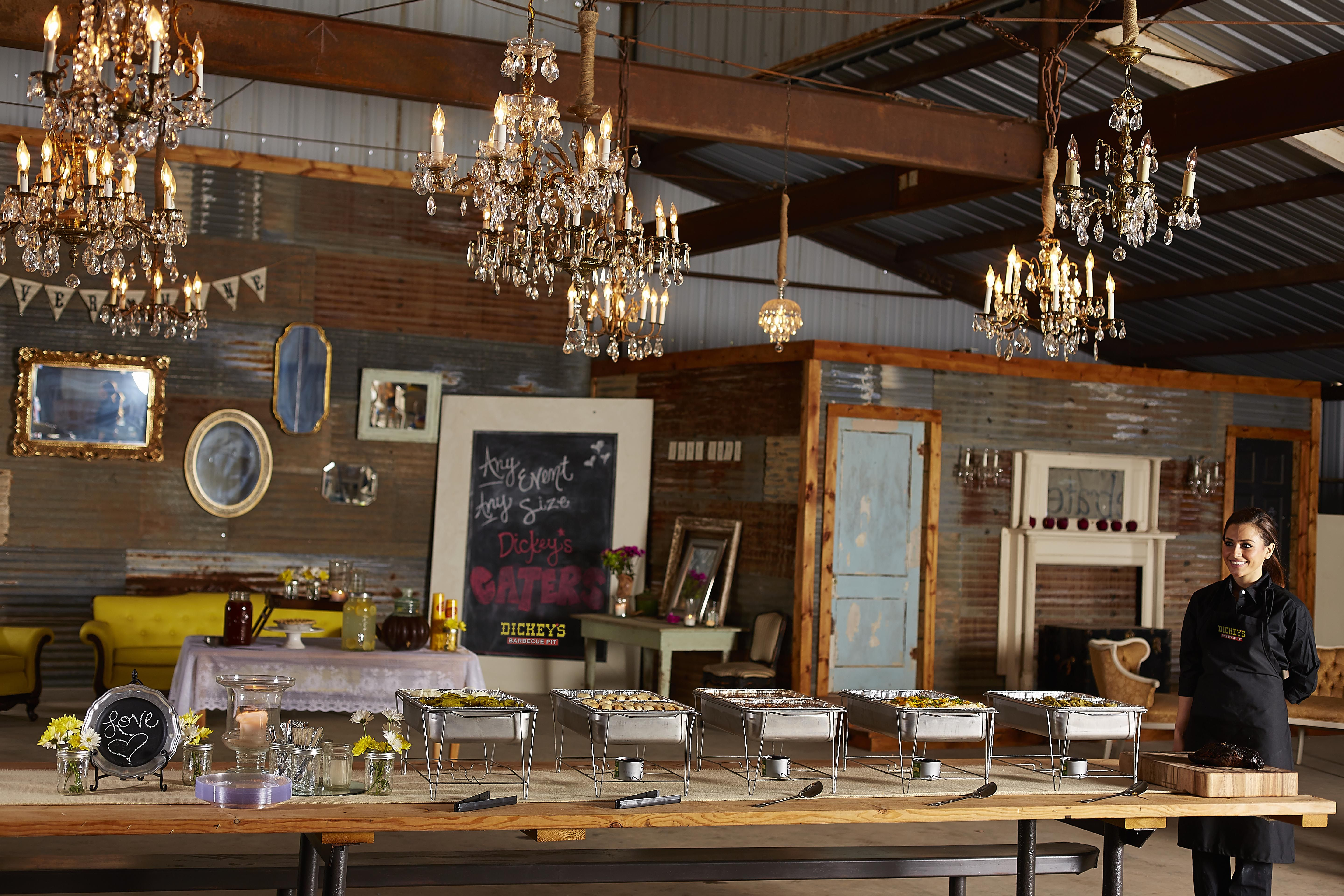 Dickey's caters a country wedding in a chic barn in Texas