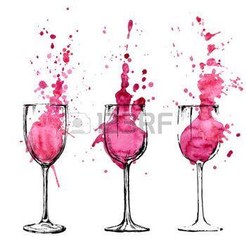 acuarelas: Ilustración Vino - boceto y estilo de arte Vectores