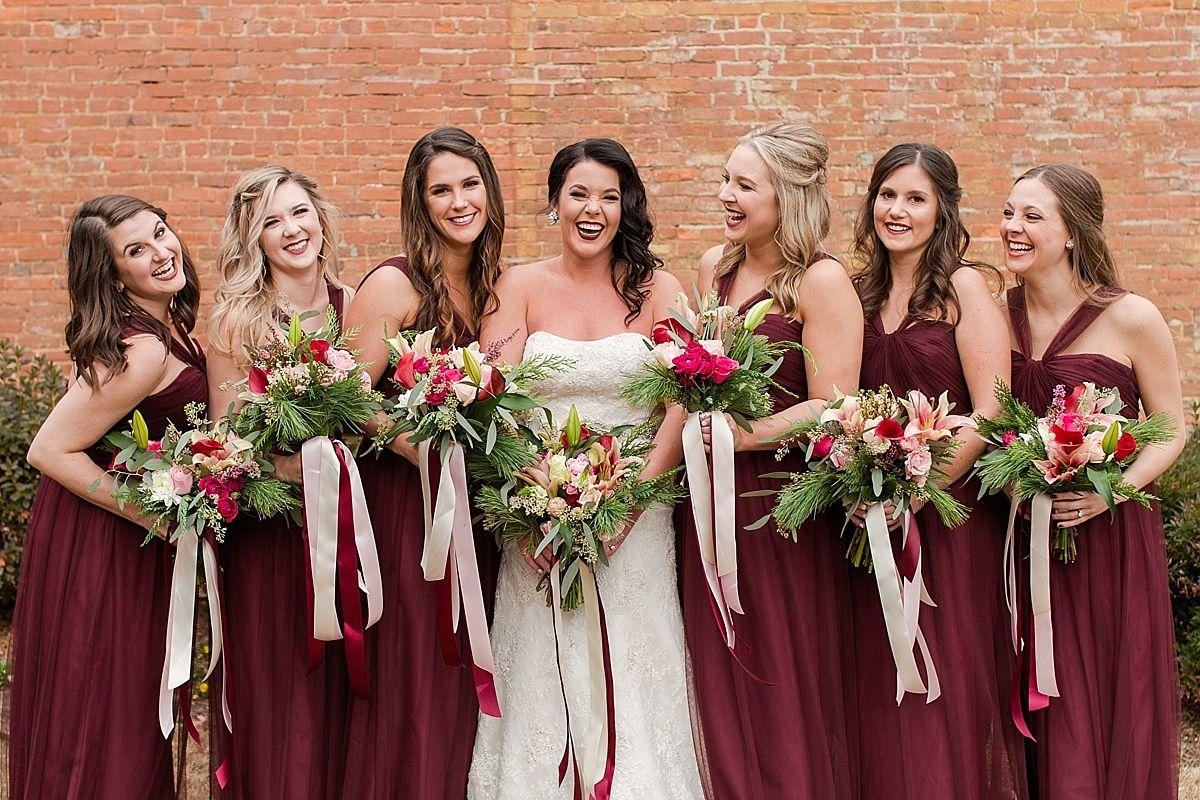 Dark Red Bridesmaid Dresses Wedding Party