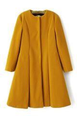 A-line Pleated Long Sleeve Tweed Winter Coat