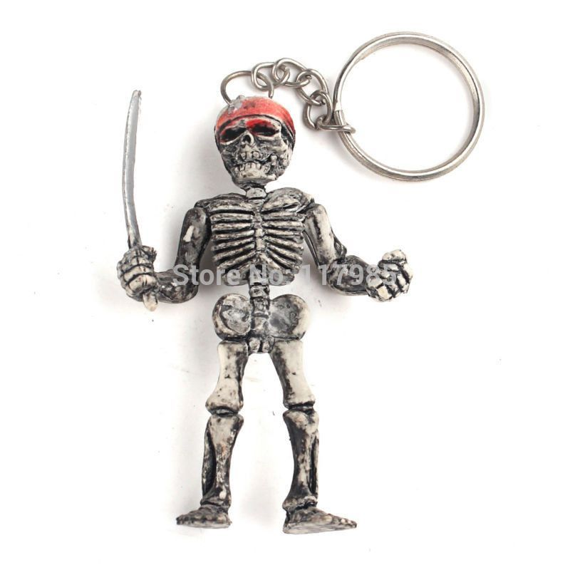 Motorcycle Bicycle Skull Charms Keychains Vintage Skeleton Key Ring Keyfob Jewelry Creative