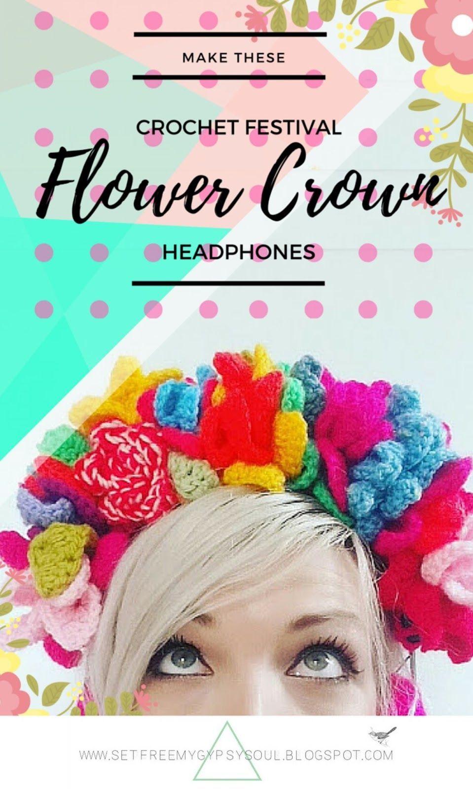 Festival Flower Crown Crochet Headphones | Free Crochet Pattern (SFMGS) #crownscrocheted Festival Flower Crown Crochet Headphones | Free Crochet Pattern #crownscrocheted