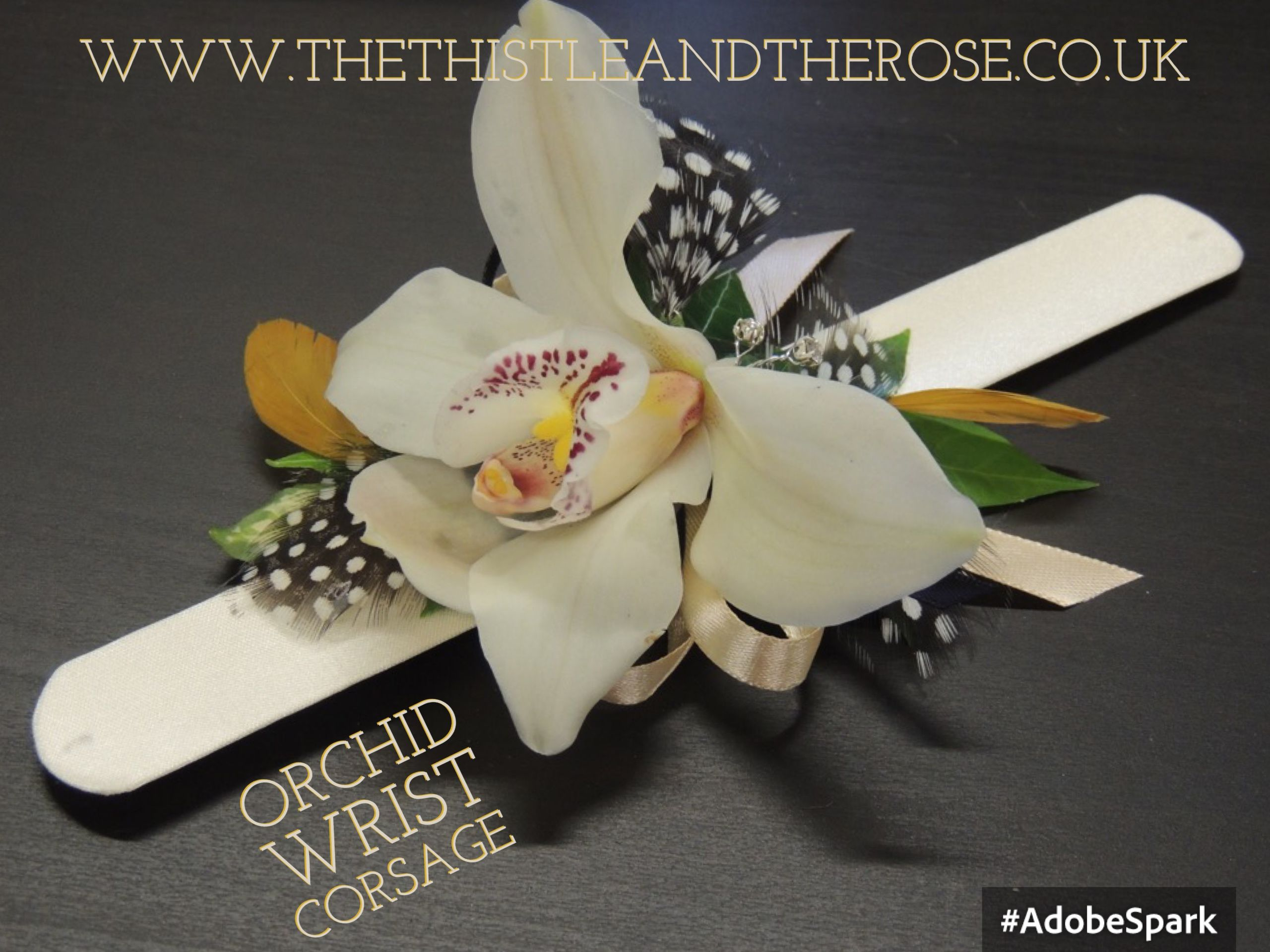 Orchid And Feather Wedding Guest Wrist Corsage On Flexible Wristlet Band