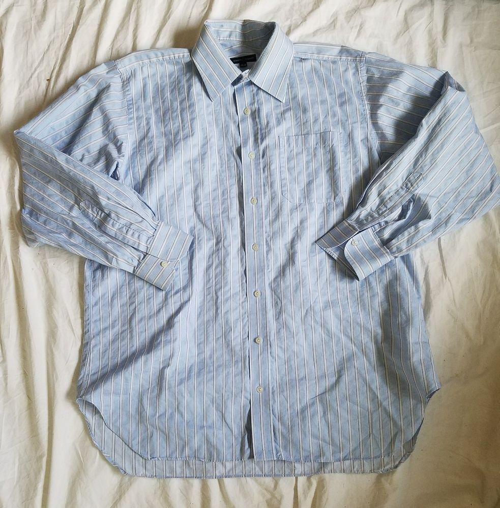 Robert Talbott Blue Striped  Button Down Dress Shirt 17 1/2 36 #RobertTalbott