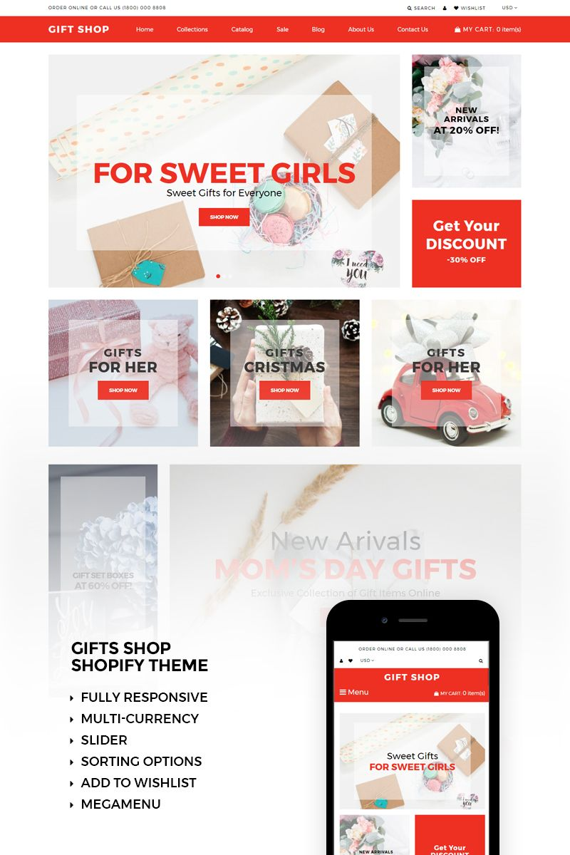 Gift Shop Shopify Theme Templates For Website Pinterest