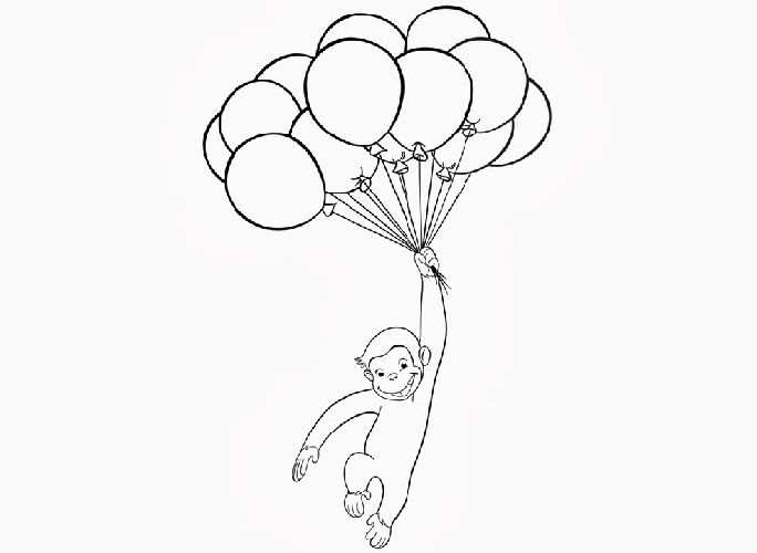 George The Monkey Fly With Balloons Coloring Pages Curious George