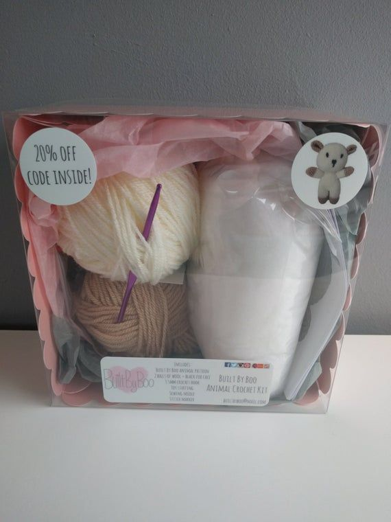 Lamby the Sheep Crochet Kit – learn to crochet, craft kit, amigurumi animals, cute, crochet patterns