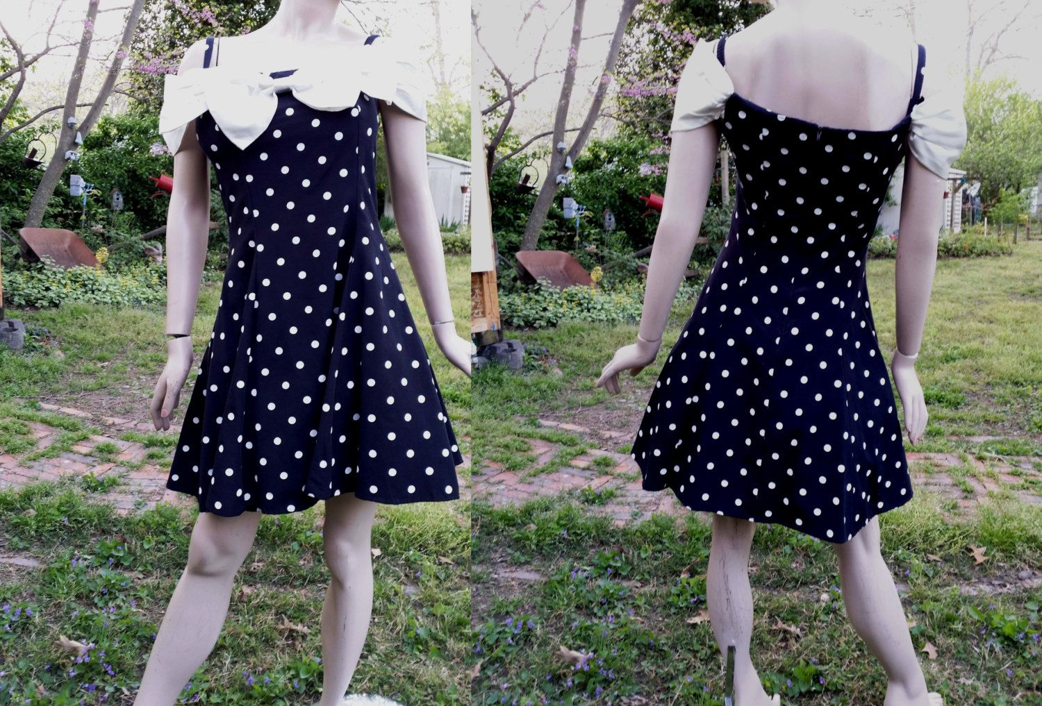 31940825f8108 Off Shoulder Polka Dot Prom Dress/ 80s Dress /80s Prom Dress/ 80s Party  Dress/ Vintage Dress in Black & White by By Choice Dress US Size 8 by ...