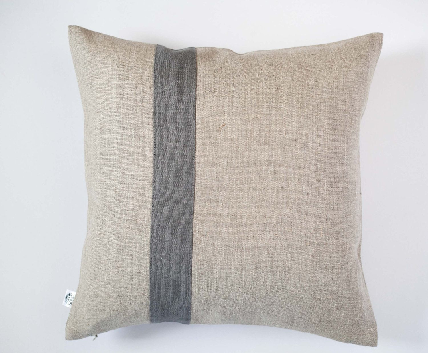 Natural Linen Pillowcase With Grey Line Accent Custom Size Available Pure Linen Cushion Cover Linen Pillow Cases Linen Pillows Linen Pillow Covers
