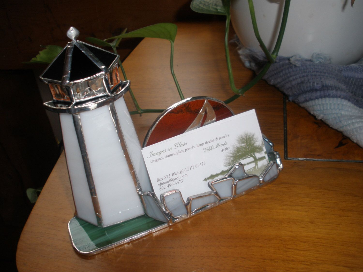 Lighthouse business card holder in stained glass by ...