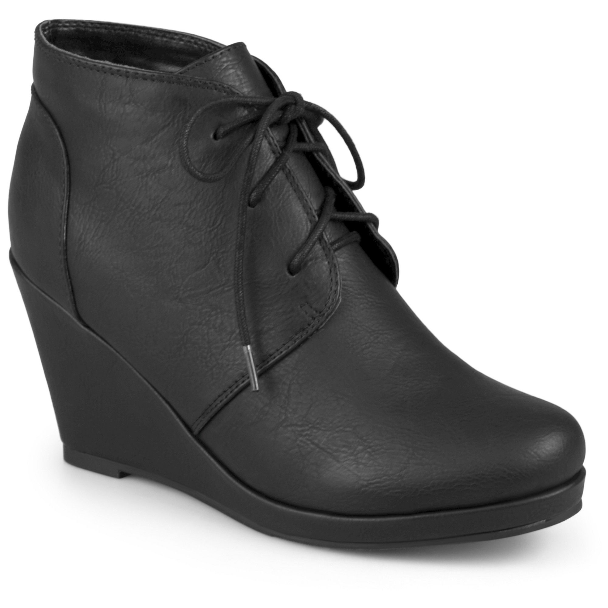 4ccc9681455d Women s Journee Collection Gentry Lace Up Vegan Wedge Booties ...