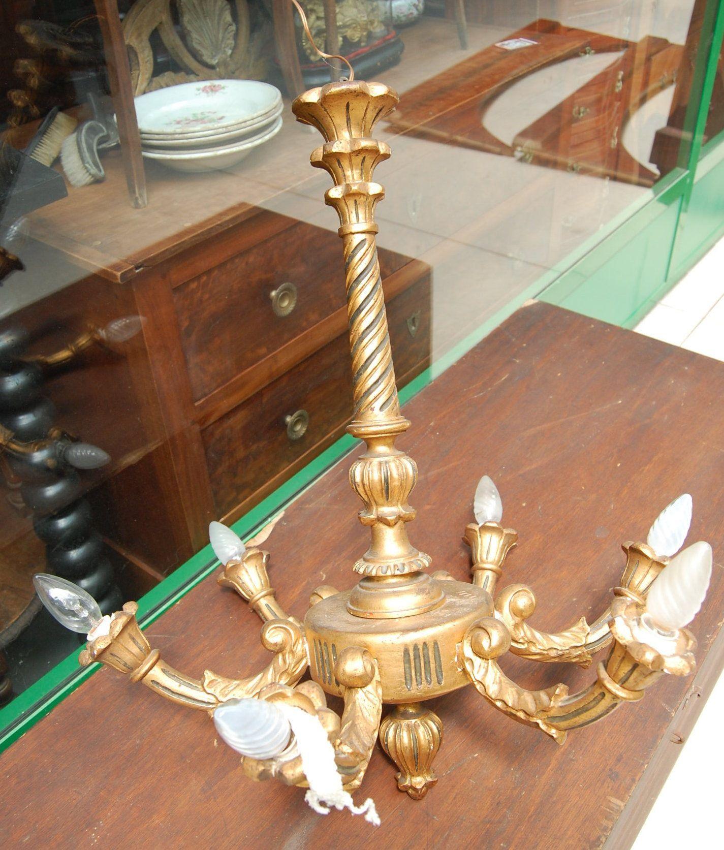 Lampadario dorato in faggio a 6 fuochi inizio '900 h 65 cm