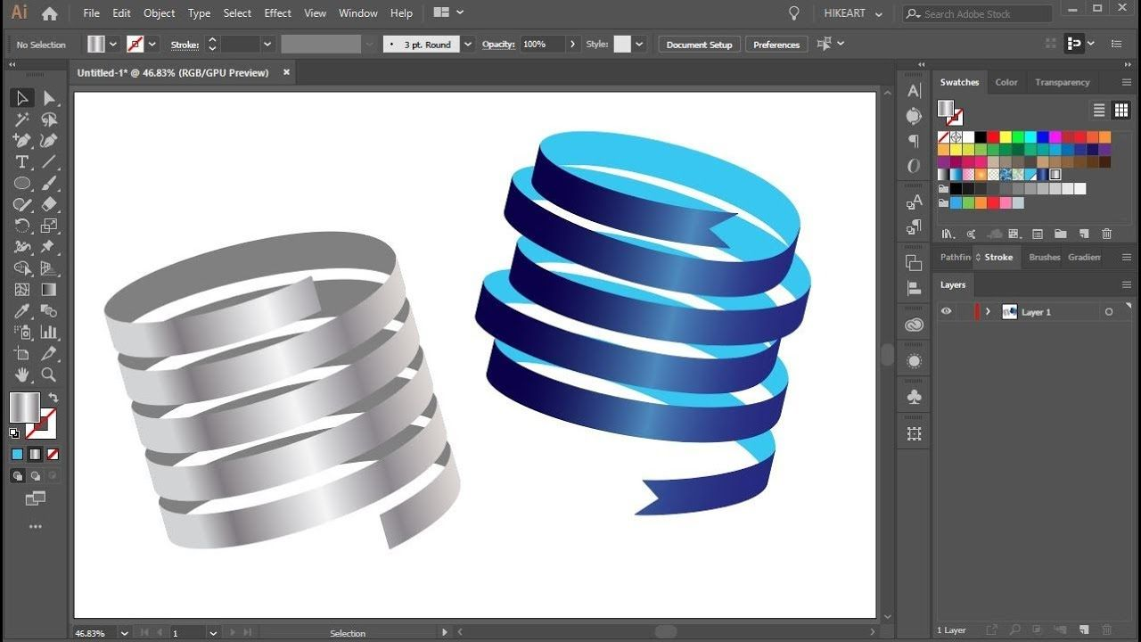 How To Create A 3d Ribbon In Adobe Illustrator Adobe Illustrator Design Illustrator Tutorials Logo Graphic Design Pattern