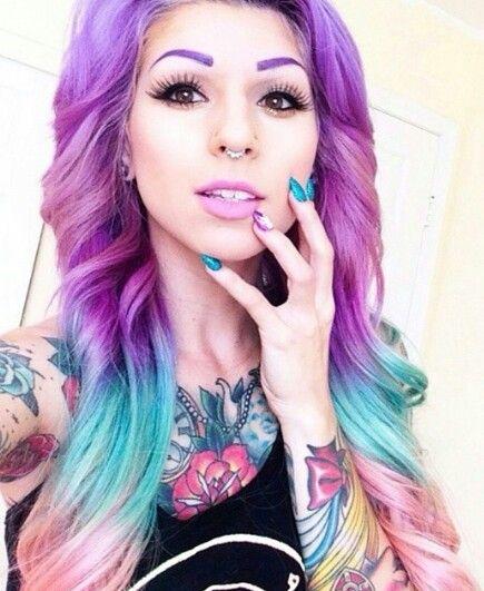 Purple blue ombre dip dyed rainbow hair