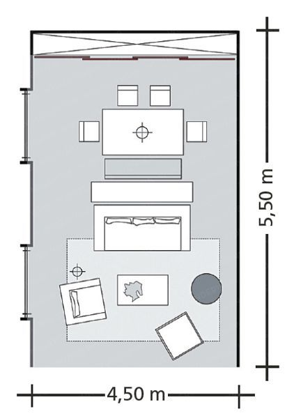 How to combine combine three rooms in one living room for Small living room floor plan