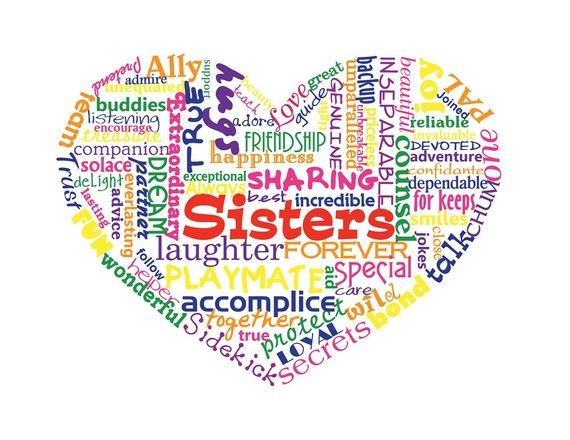 Sisters Love Heart Typography Word Art Print By Definedesign