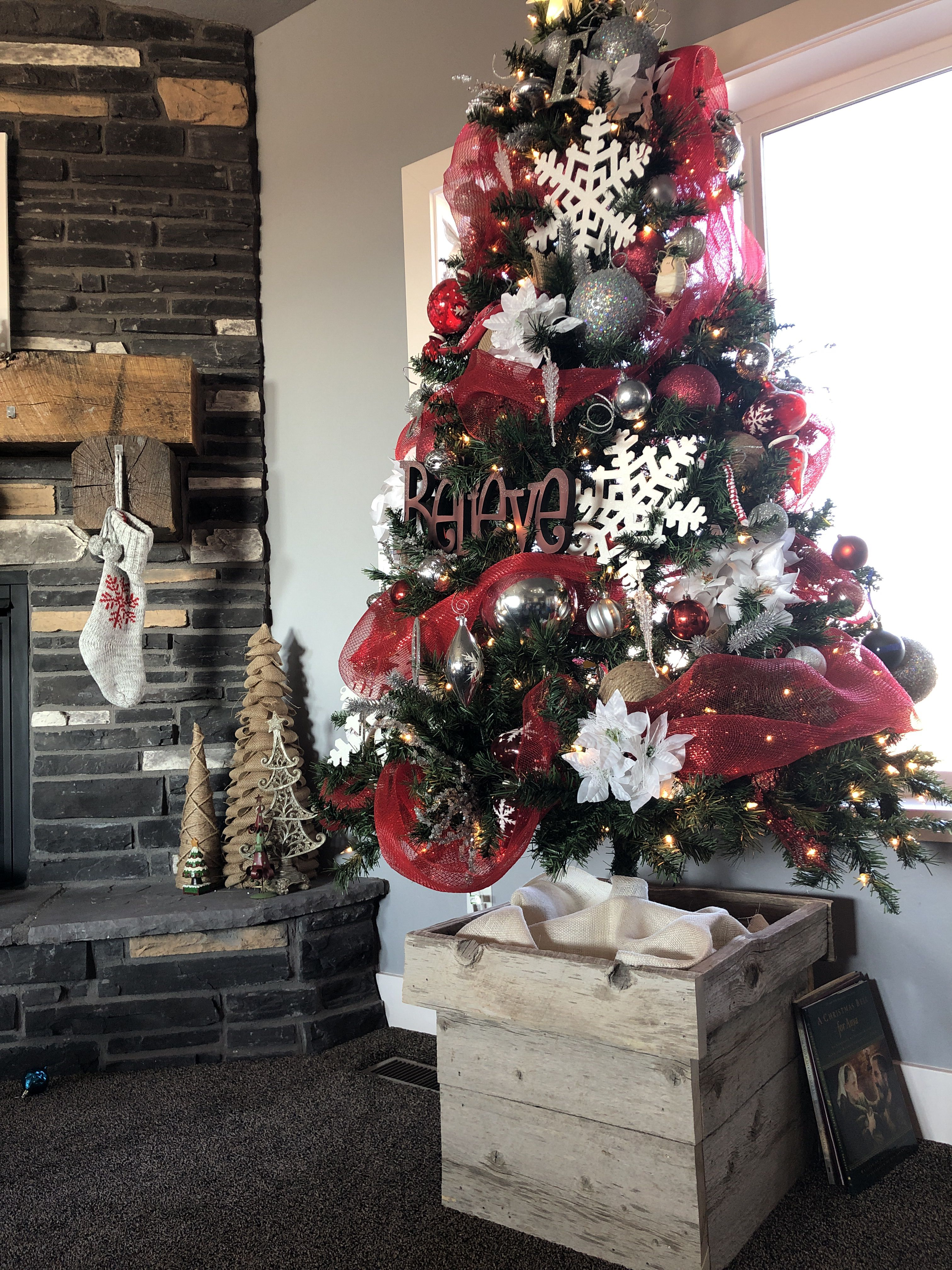 Red White And Silver Christmas Tree With Barnwood Box Stand Christmas Tree Box Stand Christmas Tree Box Christmas Tree