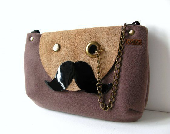 Mr. Mustache with Monocle Taupe Cross Body or Shoulder Bag or Clutch Purse with Adjustable