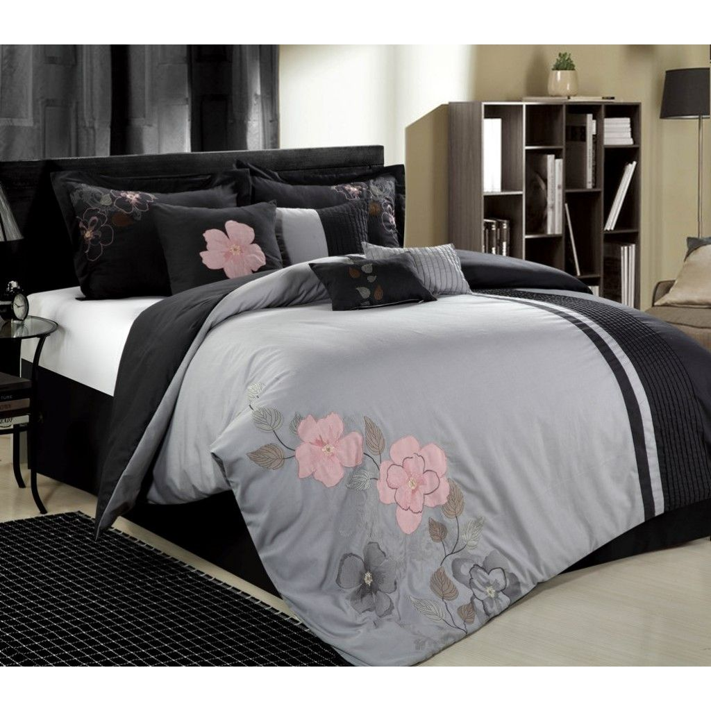 12pc Gardena Grey Pink Dark Grey Luxury Bedding Set Comforter Sets Bedding Sets Bed Comforters