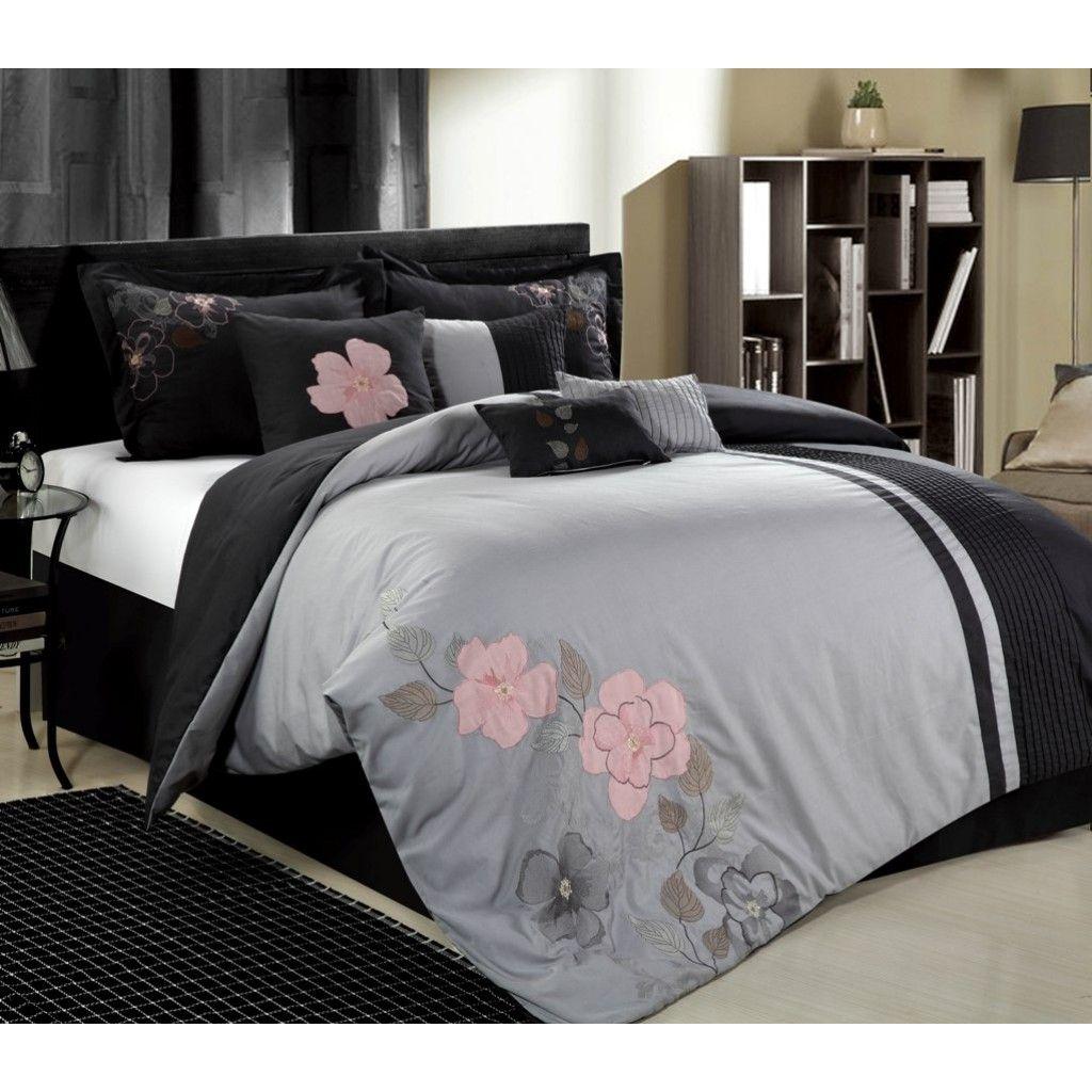 12pc Gardena Grey Pink Dark Grey Luxury Bedding Set Comforter