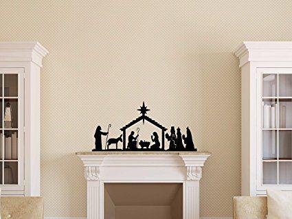 Nativity Scene Silhouette Vinyl Decal - Nativity Vinyl Sticker, Christmas Vinyl 32x15.4