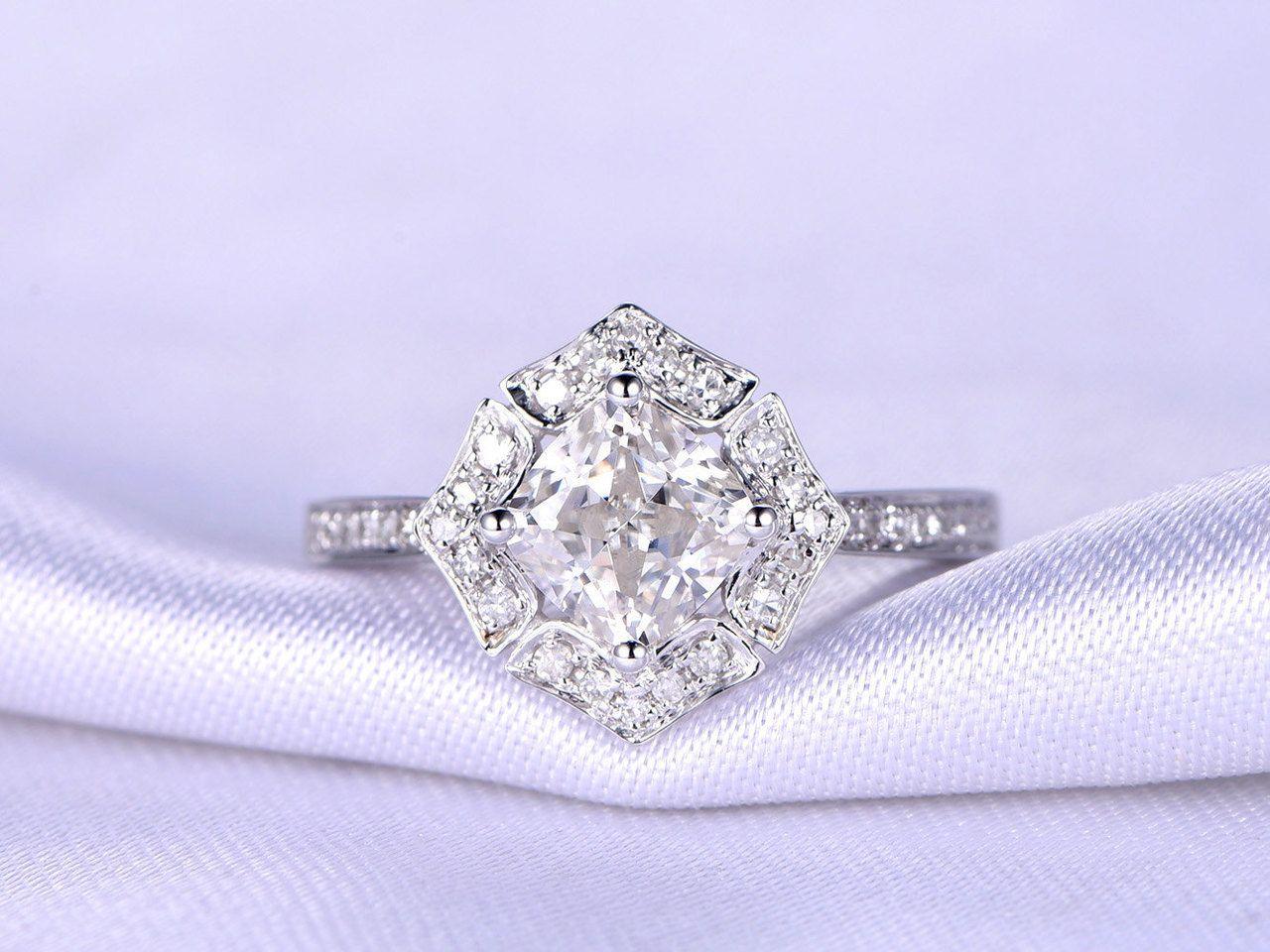 Ct moissanite engagement ringmm cushion cut glaring