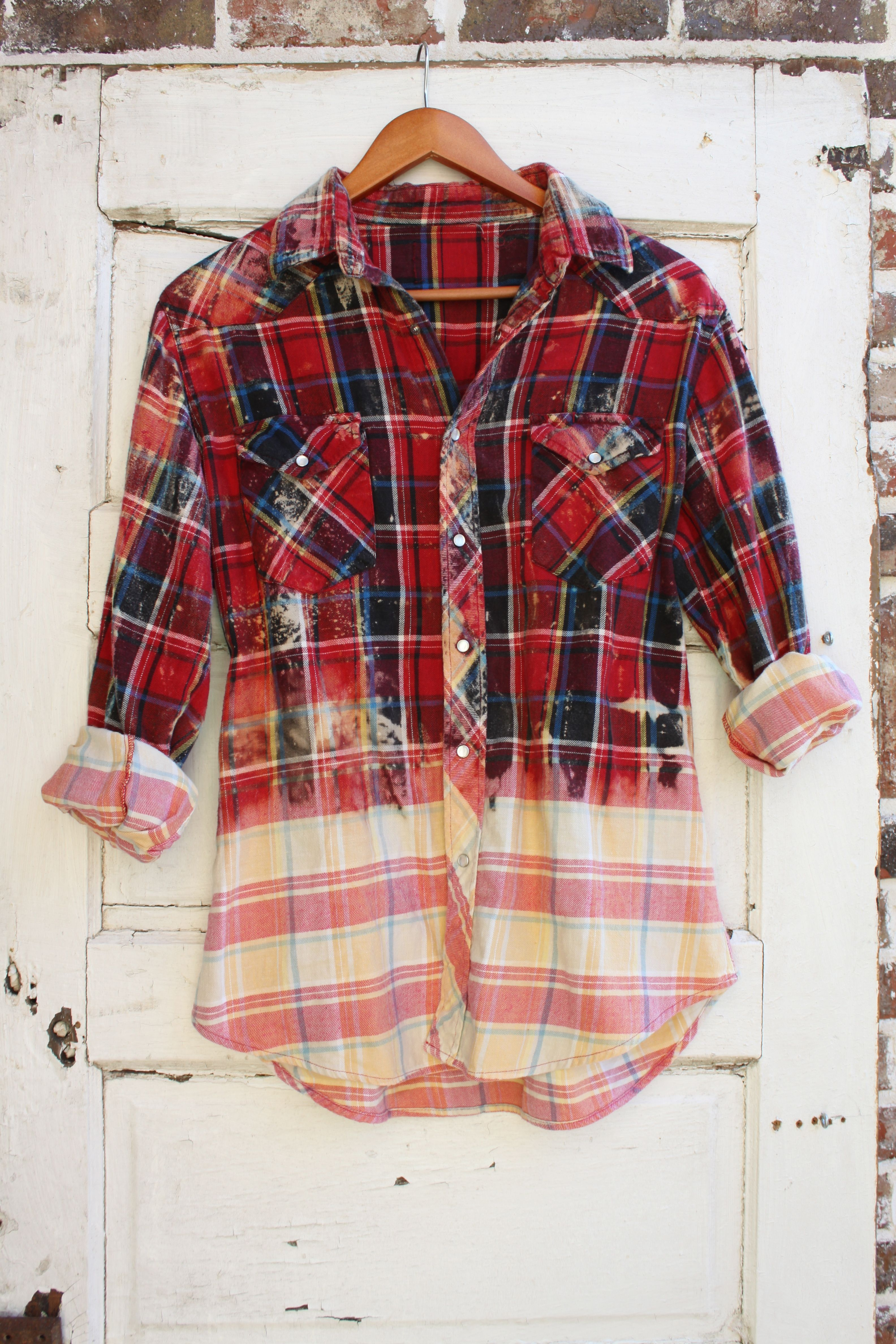 f057a1d06175 Large Distressed Flannel | Distressed Vintage Flannels | Diy clothes ...