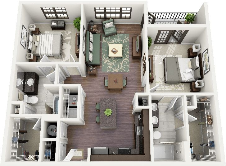50 3D FLOOR PLANS, LAY OUT DESIGNS FOR 2 BEDROOM HOUSE OR APARTMENT