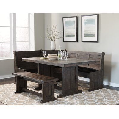 Vilo Home Industrial Charms Corner Nook Dining Set In Distressed