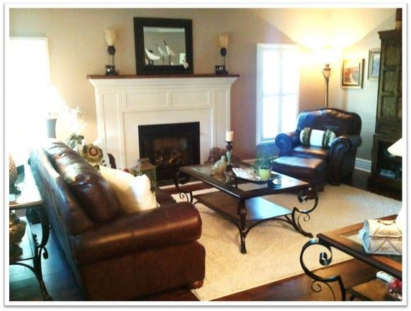 southern home country home living room white fireplace